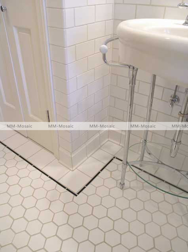 Bathroom Floor Tiles Weight : Matt white hexagon tile ceramic mosaic decoration mesh