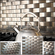 made in china silver curve shape 3d metal mosaic tile