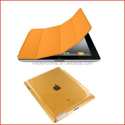 High quality 50pcs stand flip magnetic smart cover with 50pcs clear back case for ipad air ipad 5