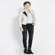 Personalizado sin cuello para mujer chaquetas de cuero& casual chaquetas de cuero blanco para las mujeres
