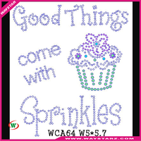 Good Things Come With Sprinkles With Cake Cartoon Design Hot Fix Rhinestone Transfer Motif For Clothing