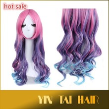 League of Legends Miss Fortune Long Wavy Pink Purple Anime Cosplay Wig for Halloween Party