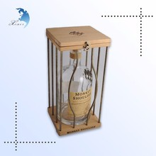 New style printed solid wood wine display boxes for whisky bottle