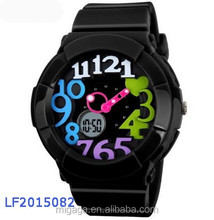 Fashion Digital LED Women Sport Watch 2 Time Zone 50M Waterproof Jelly Quartz