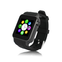 1.54 inch Touch Screen Bluetooth watch phone: with SIM card slot, with TF card slot, with cameras, black strap