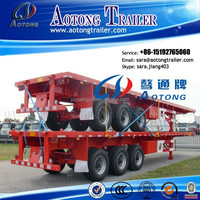 Customized Container Transport 40FT Flatbed Trailer with 385/65R22.5 single tire for Tanzania