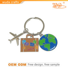 airplane engraving rimmed soft enamel zinc alloy with shinny nickel plated lobster clasp coin for supermarket trolley