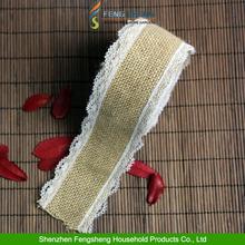 5meters Jute Hessian Burlap Lace Edge Ribbon Vintage Wedding Rustic Craft Ribbon