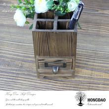 HONGDAO Christmas wooden pen holder with drawer
