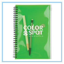 promotional customized PP cover notebook with pen for school supplies wholesale