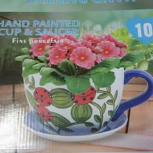 ceramic hand painted tea cup & saucer planter
