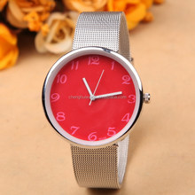 2015 new watch super thin case wide face steel wire woven band only 7MM thickness fresh watch for summer hot