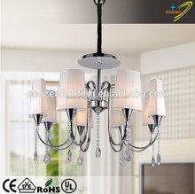 GZ40164-8P White Color and Contemporary Type fixture lighting with fabric lampshade