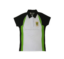 New design women polo shirt with embroidered with panel