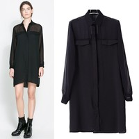 14290 New Arrivals 2014 Summer Western Style Simple Long Sleeve Turn Down Collar Blouse Type Women Dress