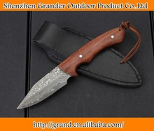 raros punho de madeira faca de aço damasco facas retas bainha de couro genuíno 4571