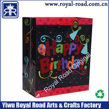 Happy birthday fancy newest paper gift bag recyclable best price top sale