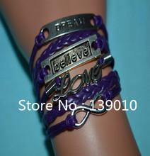 New Designer Style Infinity LOVE Believe Dream Bracelet Bangles Purple Leather Bracelet For Women Men Unisex Bracelet Wrist Band