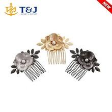 Girls hair accessories side comb elegant vintage flower with pearl metal hair combs