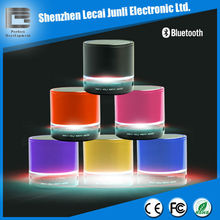 Metal tf card music player fm radio usb mini speaker with flashing LED light