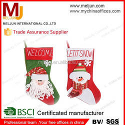 china factory new design Socks Shaped Pouch for Christmas Pouch with Glitter Snowman Purse Velvet Gift Pouches