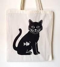 Cute Cat White Canvas Tote Bag Printing Student Love Cotton Tote Bags