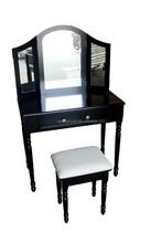 french style dressing table with hocker and mirror /Black Wooden Dresser with Mirror/Schminktisch & Hocker