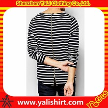 Good quality comfortable curved hem cotton/spandex long sleeve zip back flat knit stripe t-shirt