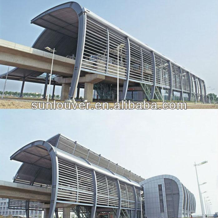 Aerofoil Sun Louver Aluminum Exterior Vertical Shutter Louver With Ellipse Sh