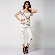 2015 latest OEM fashion design slim short-slevee casual T-shirts for girls
