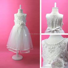 White Sleeveless Lace 2015 New Frock Design Flower Girl Dress For Baby Girl Party Dress