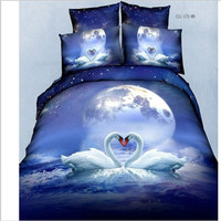 3d 4pcs Bright colorful bedding set reactive printed flower design cover bed sheet cotton bed sheet