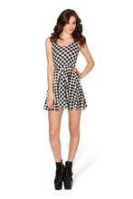 Elegant Halter Neck Girls Dress Black And White Plaid Pleated Short Dress LY021