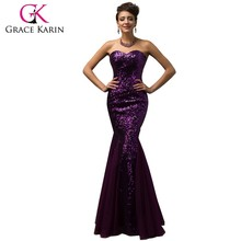 Grace Karin Newest Design Long Sequins Strapless Mermaid Prom Dress 2015 CL007556-2