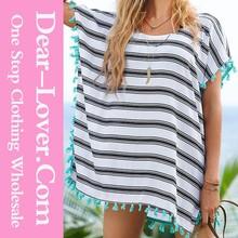 elegant wholesale xxl six Black White Stripes transparent sheer nude bikini beach wear