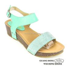 China supplier ankle strap upper rhinestone ornament latest design open toe wedge sandal 2015