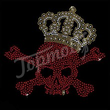 Bling Red Skull With Crown Rhinestone Diamante For Hat T shirt