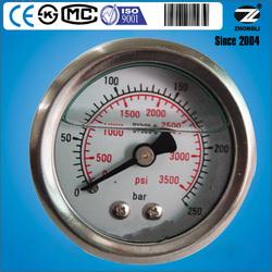 YTN-40D 40mm stainless steel case brass connection back type pressure gauge bourdon tube oil filled manometer