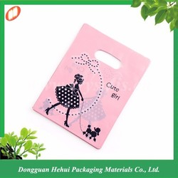 Custom logo printed die cut handle plastic shopping bag