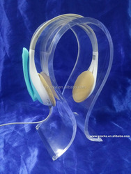Custom Clear Folding Acrylic/Plastic/PMMA Headphone Display Stand Rack Headset Support Holder With Silicone Pad