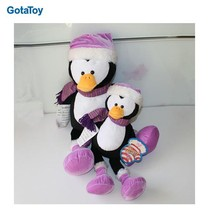New design custom cute small plush penguin with scarf and hat
