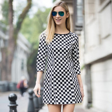 HJL-C1015 Veri Gude New spring European fashion slim fit three quanter sleeve ladies checked dress