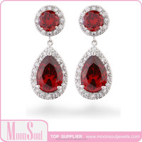 Moonsoul wholesale red AAA cubic zircon diamond eardrop for women jewelry 2015 new fashion vintage retro style made in china yiw