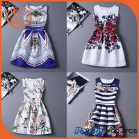 Autumn Women Casual Party Dresses Vintage Floral Print Sleeveless A Line Vestidos 20 Colors Manufacturer Wholesale