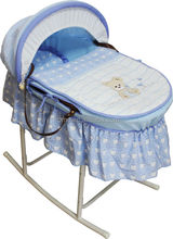 Baby bassinet natural colorful cute embroidery wicker basket set with rocking metal stand