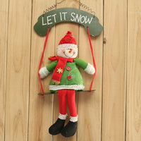 New Christmas Ornaments Wood Swing Cloth Snowman Christmas Door Hanging Decoration Xmas Gift For Children Kids