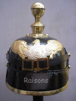 WWI WWII Leather Prussian Helmet Round Spiked Replica Helmets