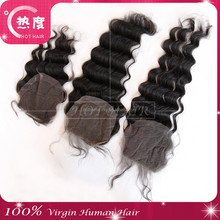 Virgin Peruvian deep Wave Closure With Bleached Knots Cheap Human Hair Three/Middle/Free Part Lace Closure