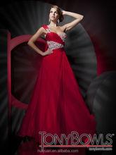 high quality one shoulder chiffon beaded red wedding dresses