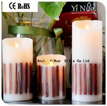 New Rechargeable 2 D Batteries Operated Moving Flame Flameless Birthday Gift Candle/Wedding Candles Scented